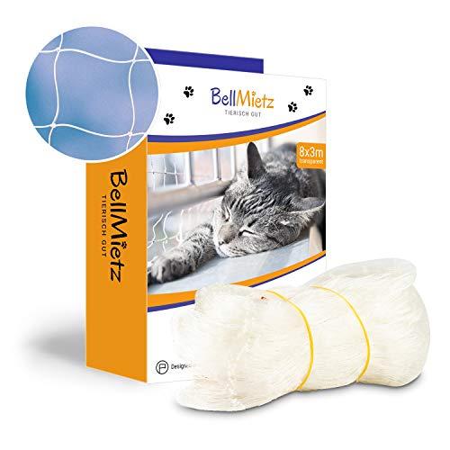 BellMietz Katzennetz für Balkon & Fenster (durchsichtig) | Extragroßes...