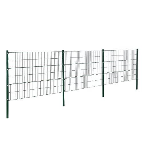 [pro.tec] Doppelstabmattenzaun - 6 x 1,2 m - Eisen Gartenzaun Metallzaun...