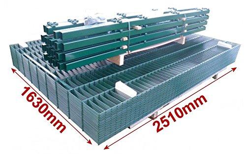 Doppelstab-Mattenzaun Komplett-Set / Grün / 163cm hoch / 40m lang /...