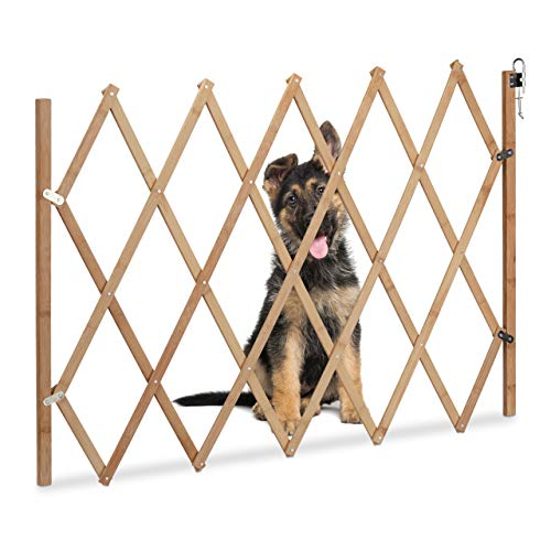 Relaxdays Absperrgitter Hund, ausziehbar, aus Holz, Türen & Treppen,...