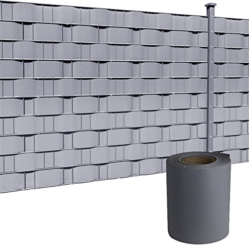 HENGMEI PVC Sichtschutzstreifen 35m x 19cm mit Befestigungsclipse...