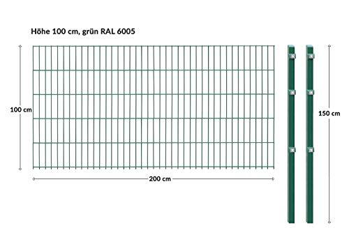 Einstabmattenzaun/Stabmattenzaun, H 100 cm, grün, 10-50m - inklusive...