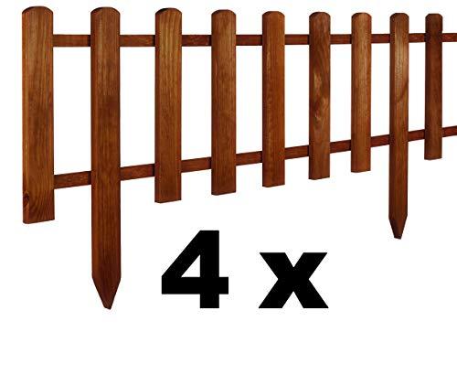 Floranica® 4 x Vorgarten Zaun aus Holz, Modell 2021, wetterfest...