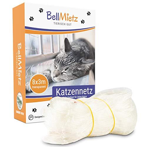 BellMietz® Katzennetz für Balkon & Fenster (durchsichtig) | Extragroßes...