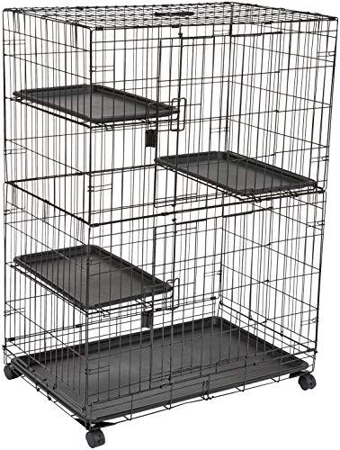 Amazon Basics – Großer Katzenkäfig mit 3 Ebenen, 91 x 57 x 128,5 cm,...