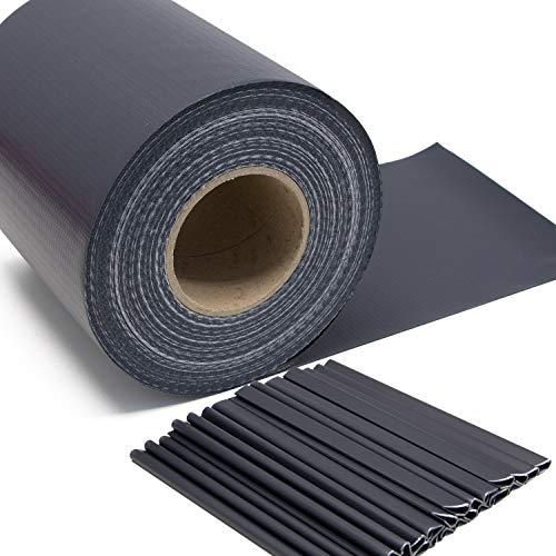Stabmattenzaun Sichtschutz-Streifen, PVC Folie in Grau - anthrazit, 19cm...